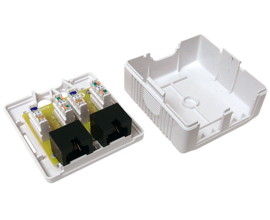 CAT6 Surface Mount Box, 1 & 2 Port Pre-wired, Universal Box Case - White