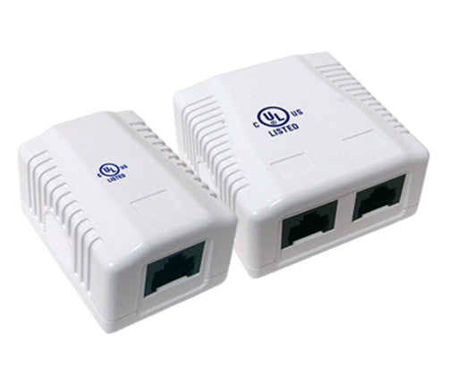 Cat6 1 & 2 Ports Pre-wired Universal Box Case - White