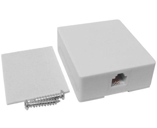 RJ11 Modular Single Port Surface Mount Jack - White