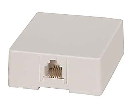 RJ12 Modular Single Port Surface Mount Jack - White