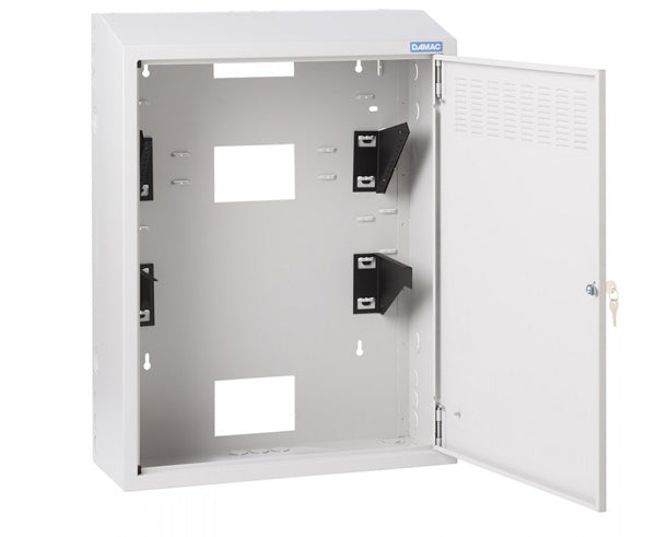 "Network Rack, TransIT Wall Mount Enclosure, 24"", 32"" & 42"" Tall, Two 4U Brackets - Open view"