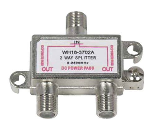 2.5GHz Coax 2-Way Splitter, DC Power Pass  - 1-in/2-out