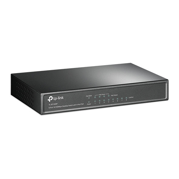 Unmanaged 8 Port Ethernet Switch with 4 PoE Ports, 10/100Mbps