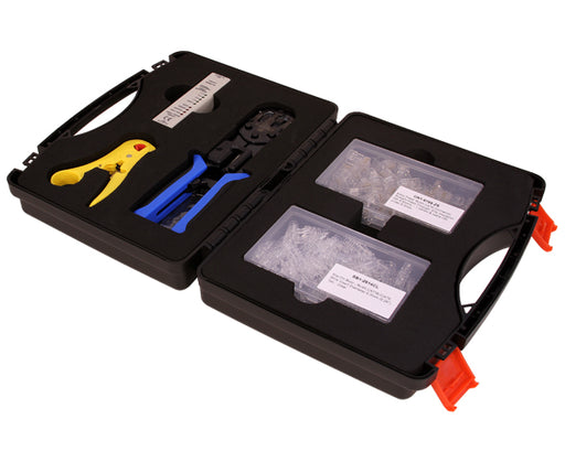 Cat6 Networking Termination Tool Kit includes cable stripper, cable crimper, cableTester, RJ45 Easy Feed Connectors, RJ45 Slip-On-Boot, and Carrying Case