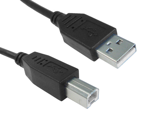 USB 2.0 A Male/B Male Cable, Black - 3 Feet