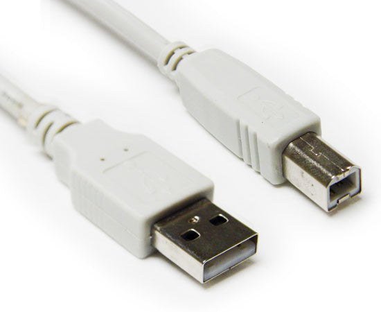 USB 2.0 Cable, A-Male/B-Male, Black & Ivory, 3FT, 6FT, 10FT & 15FT