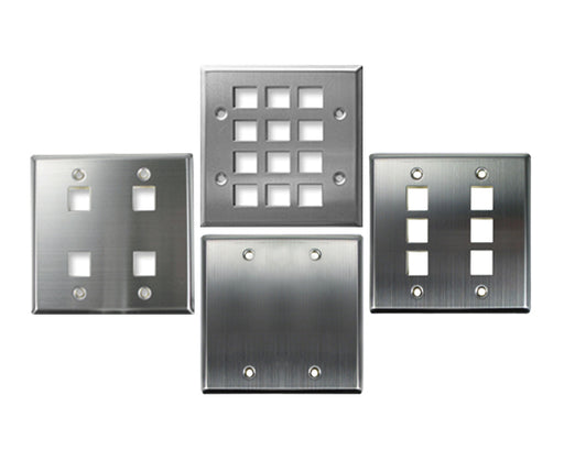 Stainless Steel Keystone Wall Plate, Double-Gang - Blank, 4 Port, 6 Port, 12 Port