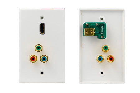 HDMI Wall Plate with 3 RCA Connectors, Gold Plated - White