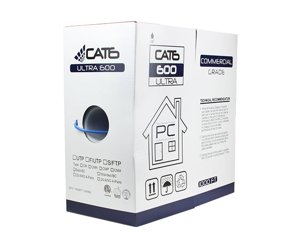 UL CMR 23AWG US-A-81978 UTP Cat.6 Ethernet Patch Cable Made in USA Super E Cable White SKU 34 FT