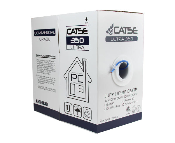 CAT5E UTP Bulk Ethernet Cable, Solid Copper CM Rated, 24 AWG 500FT