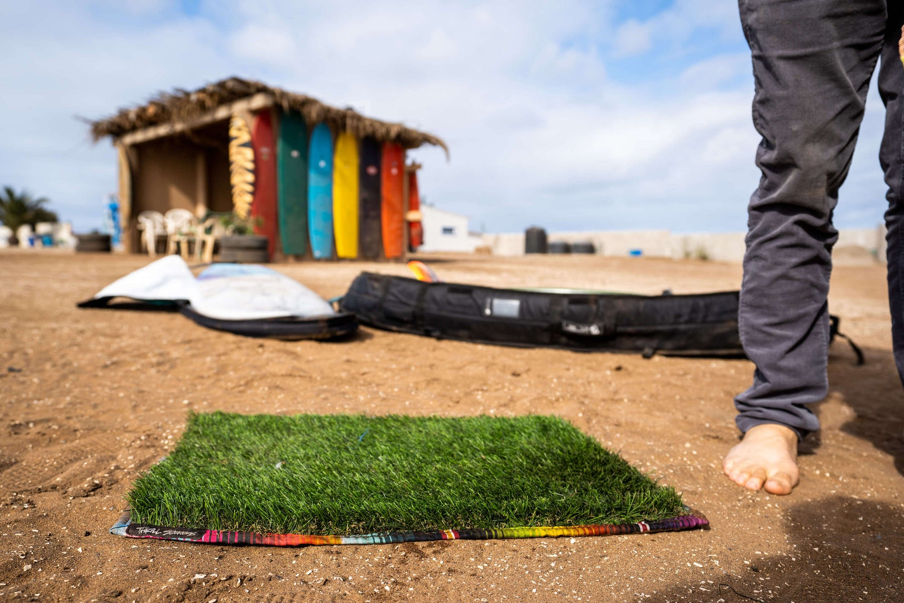 Grass Changing Mat. Thrill Seekers Good Time Grass! Surf, Moto, any adventure changing mats. Serape print border. Built for Fun.