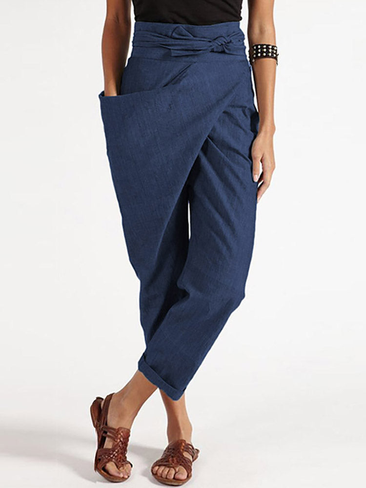 Casual Wrap Pockets Plus Size Harem Pants with Belt