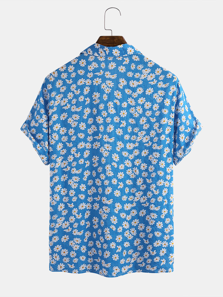 Mens Cotton Daisy Floral Printed Holiday Casual Short Sleeve Shirt