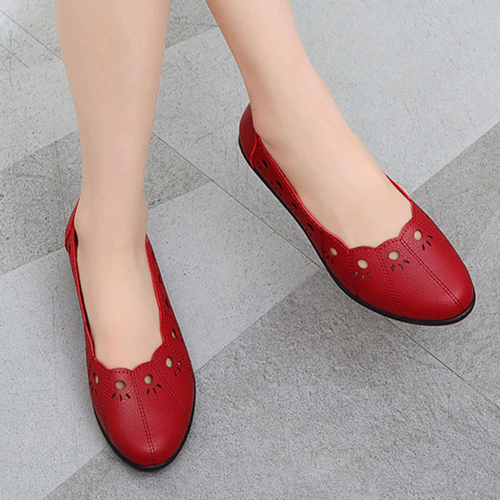 Women Casual Soft Breathable Hollow Slip On Flats