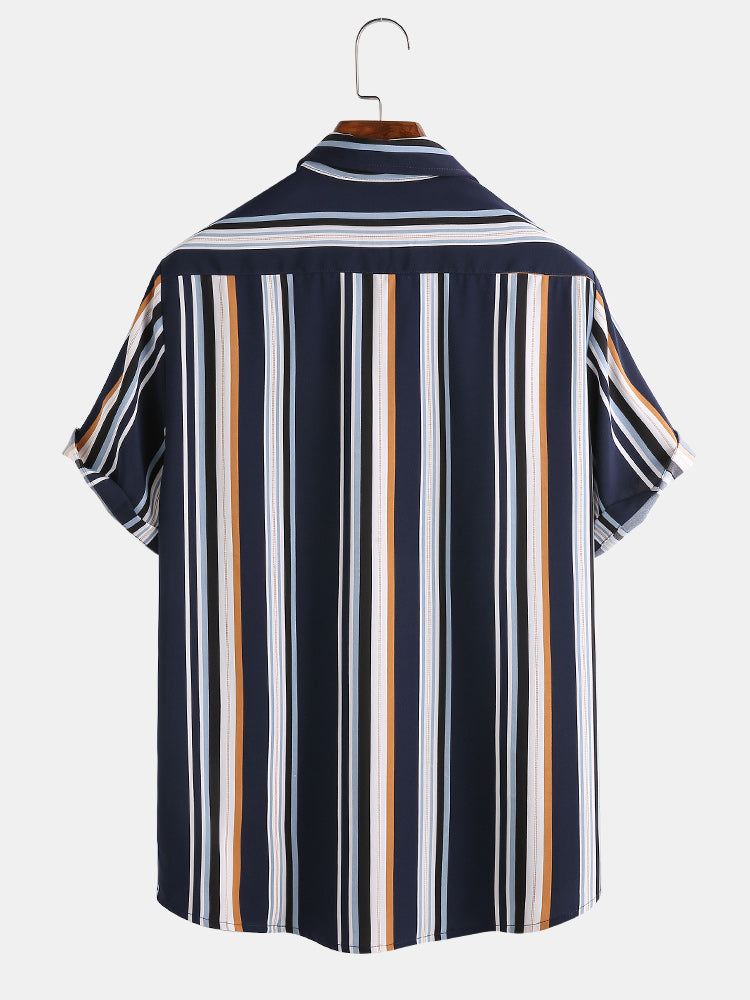 Mens Cool Multi Color Striped Button Up Short Sleeve Shirts