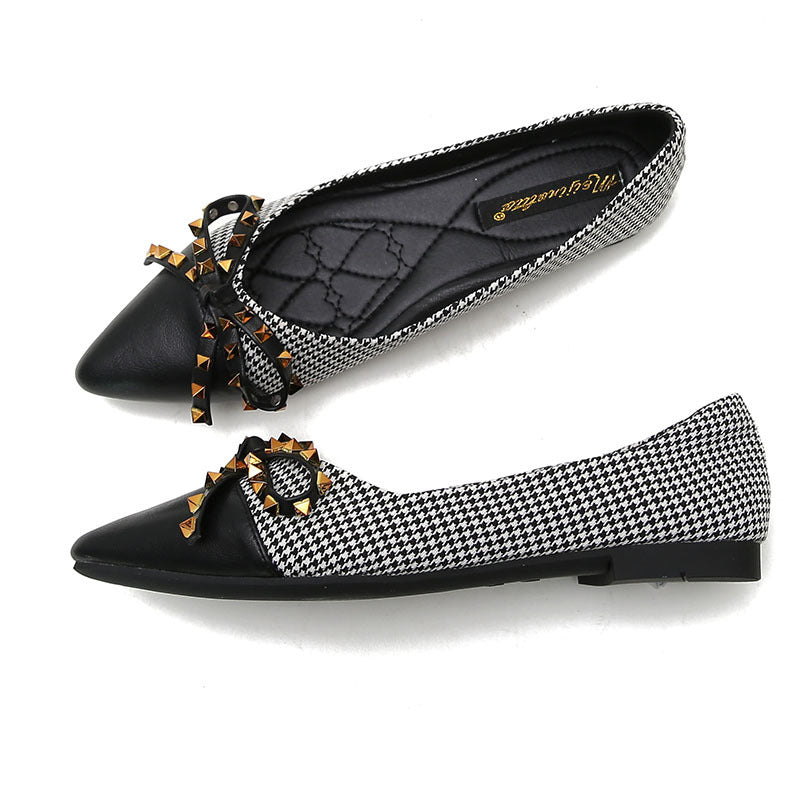 Large Sizes Women Pointed Toe Bow Decor Flats Shoes