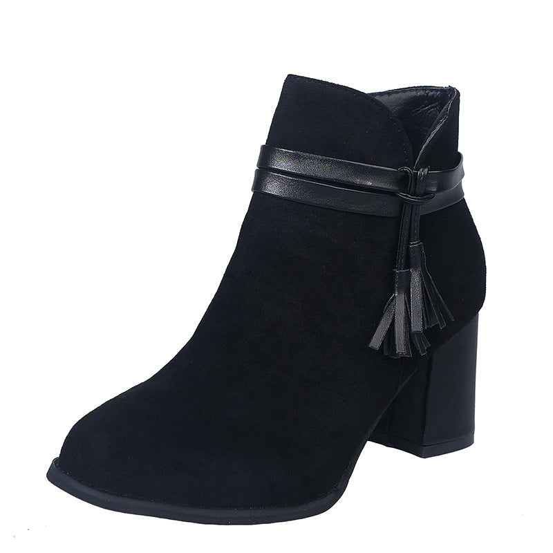 Large Size Women Solid Color Pointed Toe Tassel Zipper Chunky Heel Ankle Boots