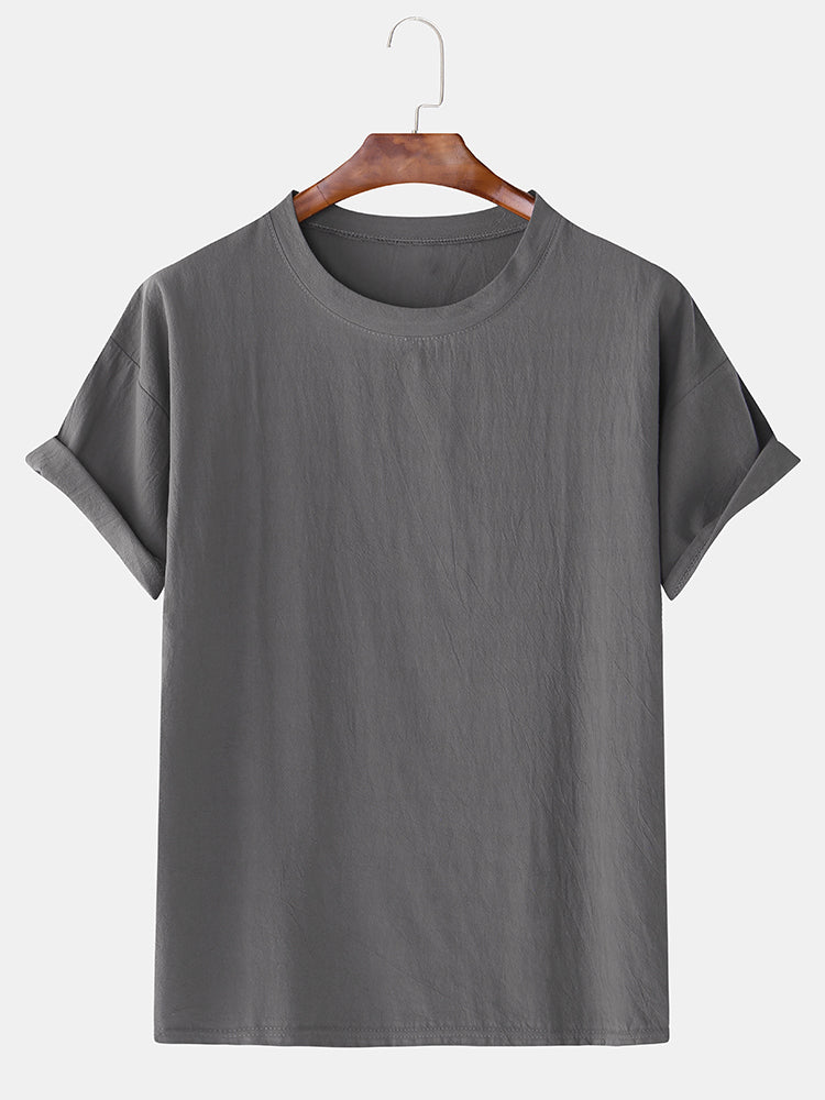 Men Cotton Linen Solid Round Neck Loose Short Sleeve Casual T-Shirt