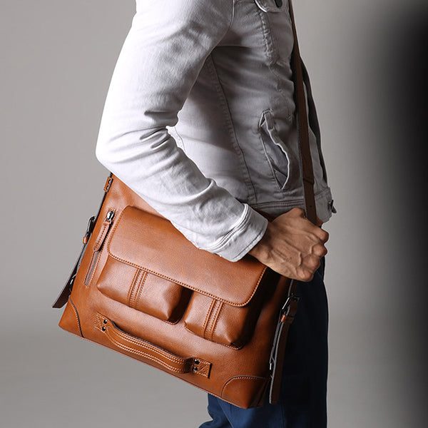 Men Casual Handbag Multifunction Backpack Solid Crossbody Bag