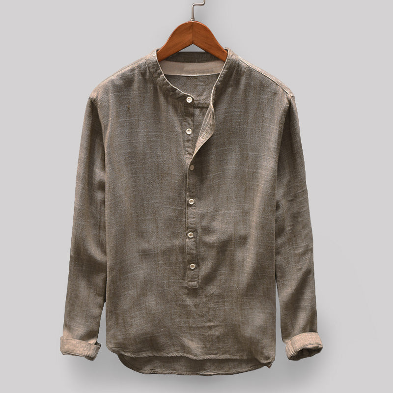 Mens Vintage Solid Color Stand Collar Long Sleeve Loose Casual T shirt