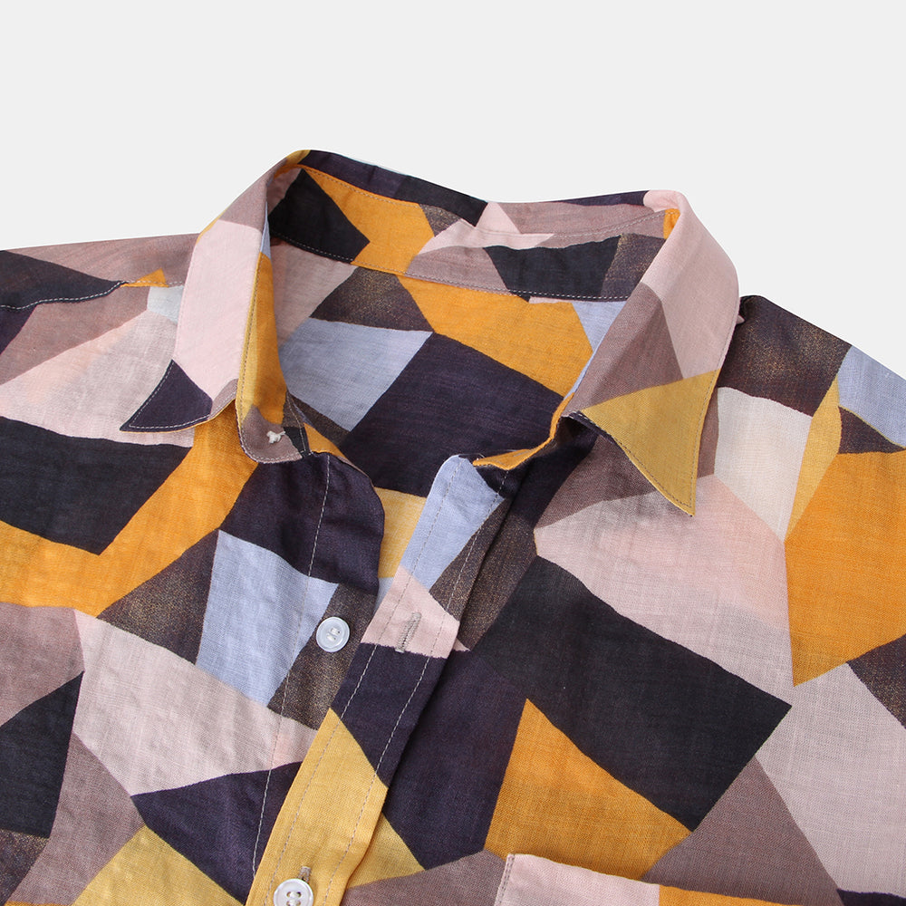 Mens 100%Cotton Color Block Chest Pocket Turn Down Collar Short Sleeve Shirts