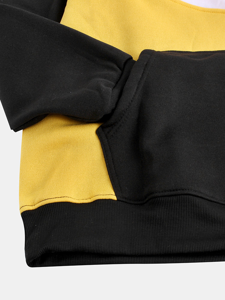 Mens Brief Style Hit Color Warm Daily Hoodies