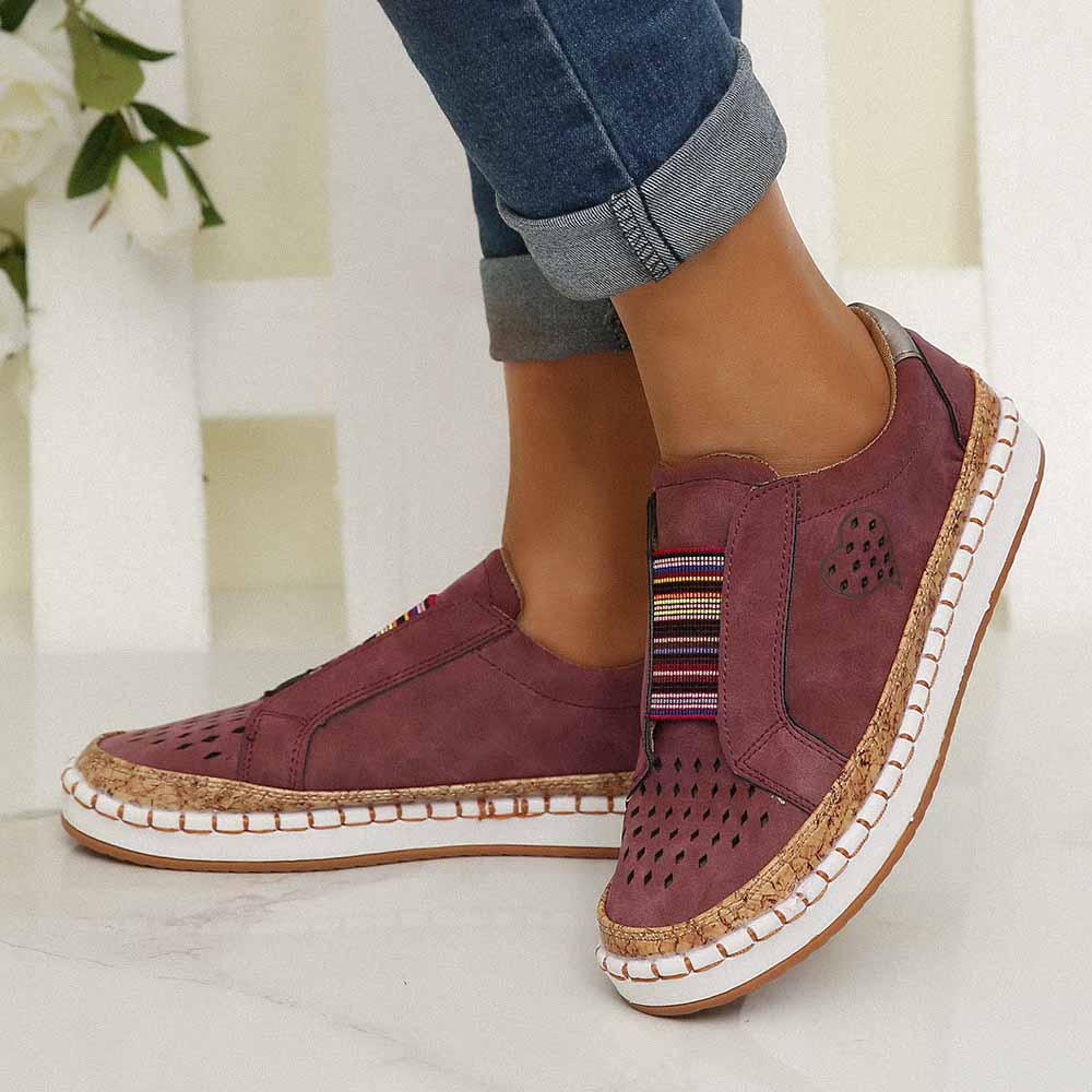 Women Casual Breathable Hollow Slip On Flat Loafers