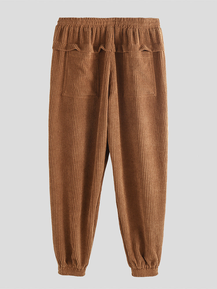 Mens Solid Color Corduroy Drawstring Waist Elastic Ankle Casual Pants