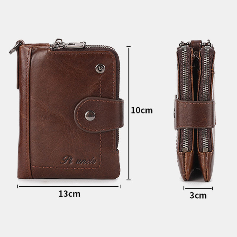 Men Rfid Antimagnetic Genuine Leather Zipper Purse Casual Wallet