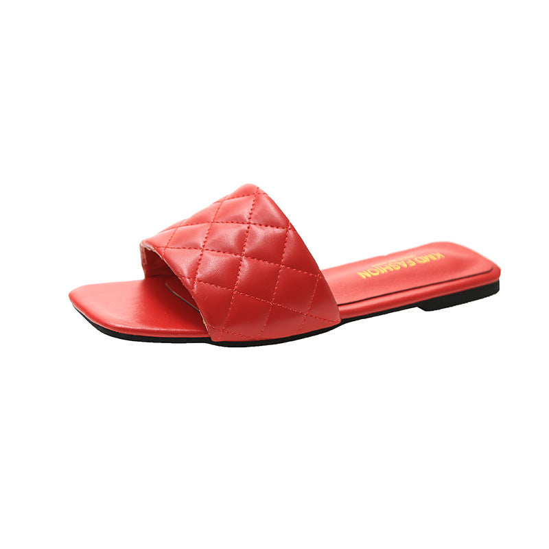 Women Solid Color Square Toe Flats Slippers