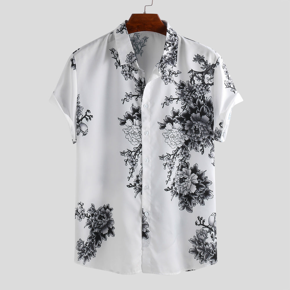 Mens Chinese Style Porcelain Floral Printed Short Sleeve Turn Down Collar Casual Shirt