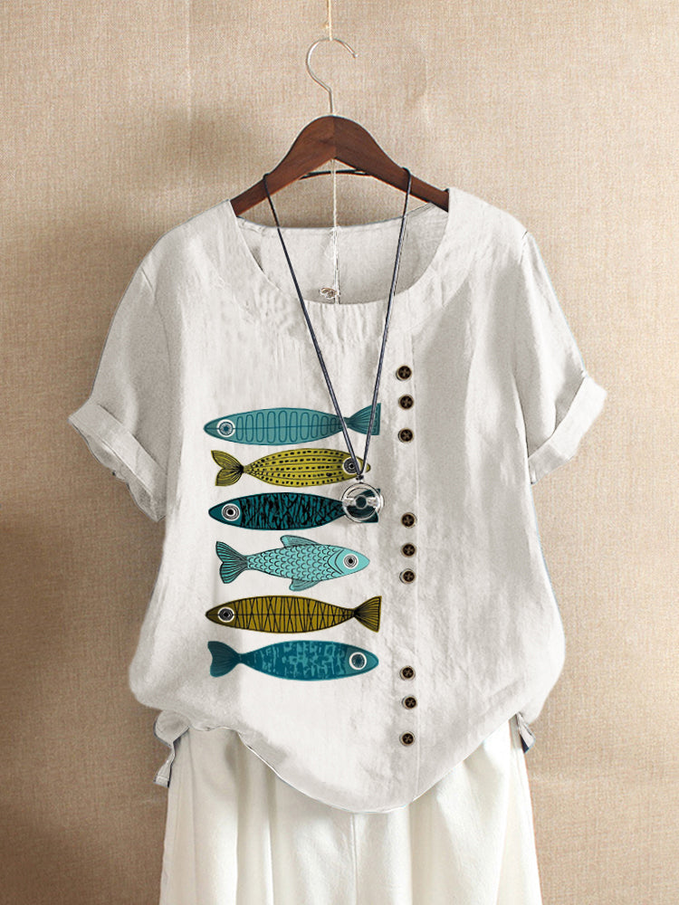 Fish Print Patched Casual Short Sleeve O-Neck Cotton T-shirt For Women