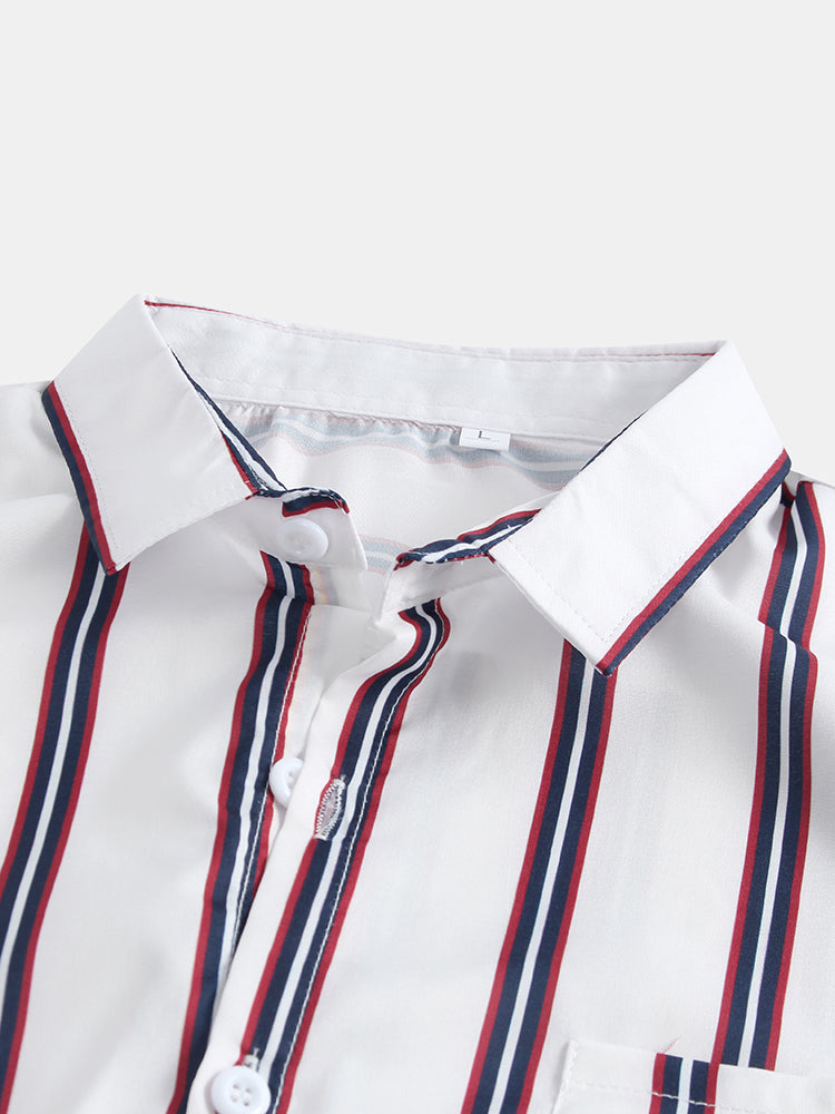 Mens Breathable Multi Color Stripe Chest Pocket Short Sleeve Shirts