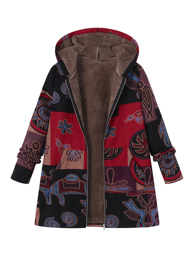 Plus Size Printed Hooded Pockets Jackets for Women