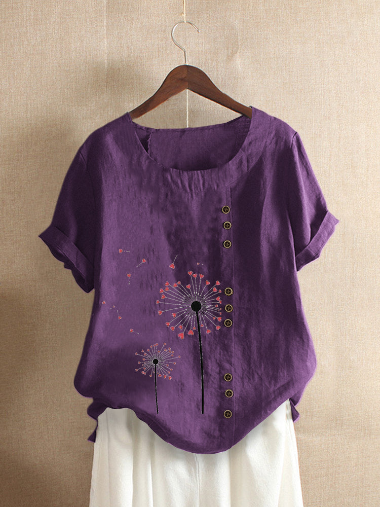 Vintage Printed Short Sleeve O-Neck Overhead Button T-shirt
