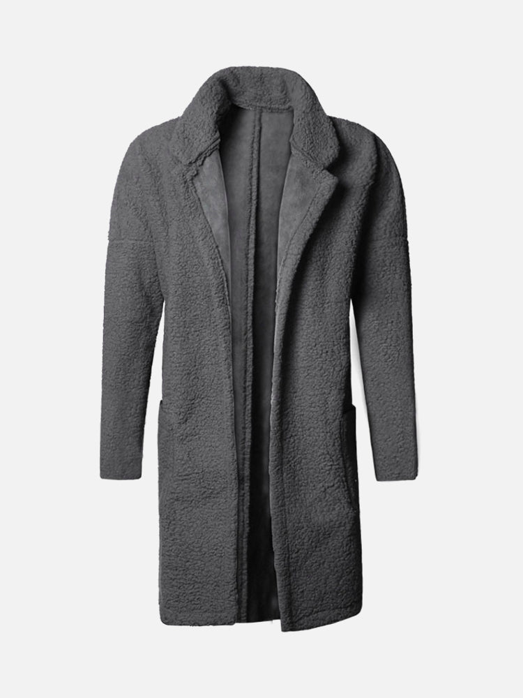 Plus Size Mid Length Double Side Wearable Thicken Fur Warm Wool Blend Coat For Men
