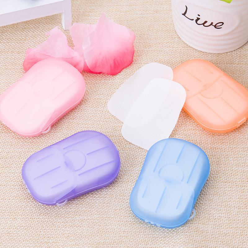 100PCS/5Boxes Portable Hand-washing Paper Mini Disposable Soap Tablets Box Hand Soap Paper