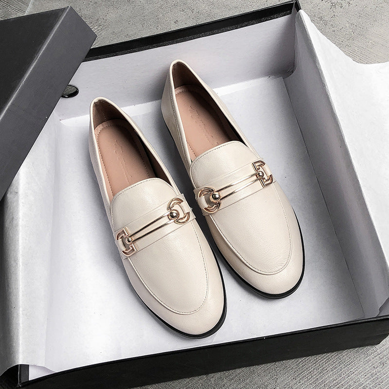 Women Dress Shoes Metal Decor Slip On Flats Loafers