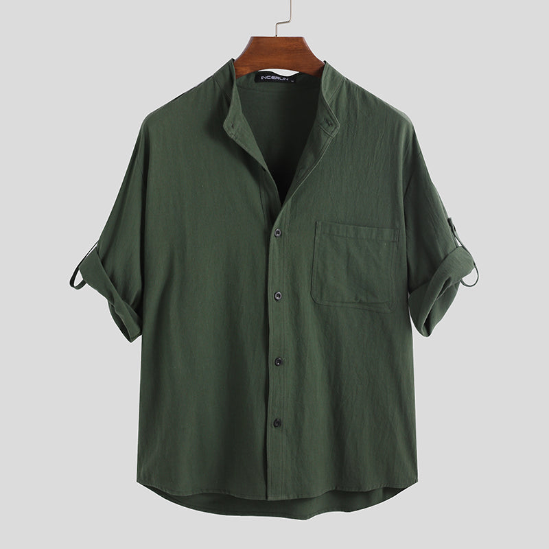 Mens Solid Color Chest Pocket Half Sleeve Stand Collar Breathable Casual Shirts
