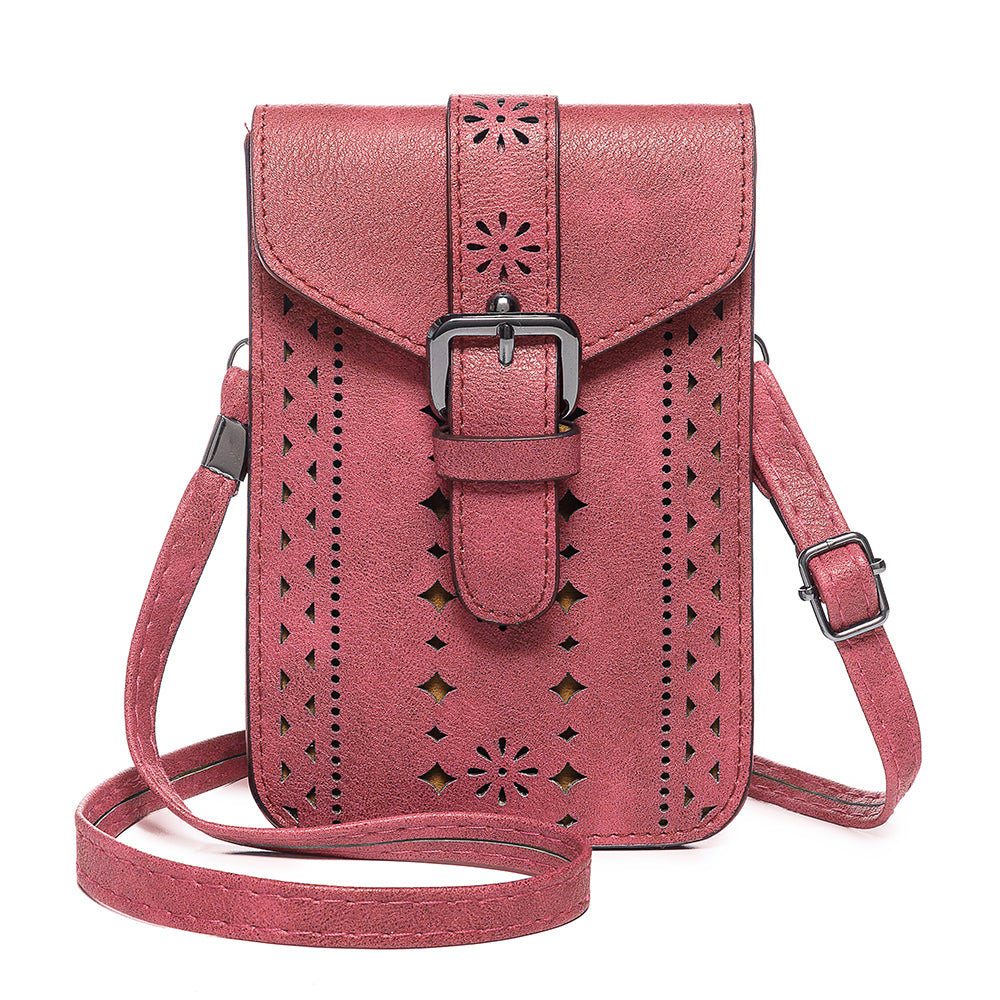 Women Vintage Leisure Phone Bag Solid Hollow Crossbody Bag