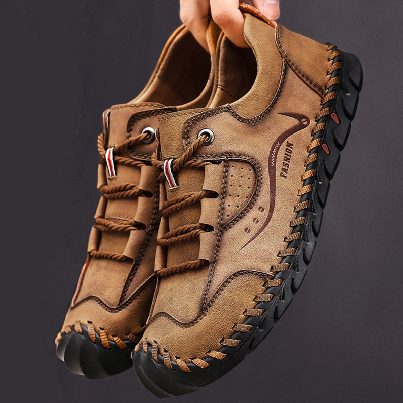 Men Microfiber Leather Hand Stitching Non Slip Anti-collision Casual Shoes