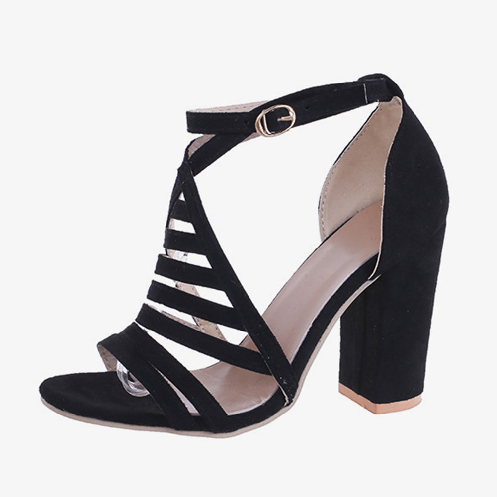 Large Sizes Women Stripes Buckle Chunky Heels Sandals