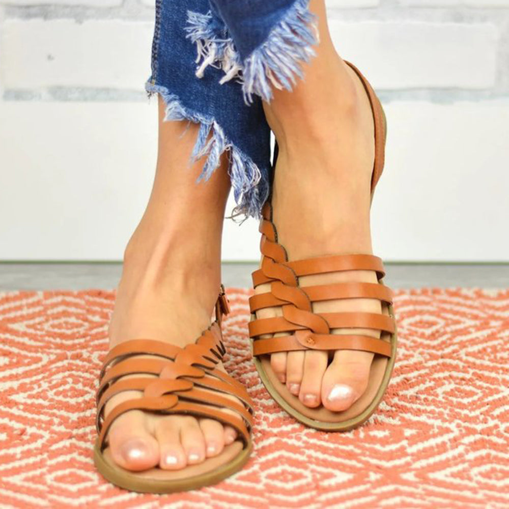 Large Size Women Beach Hollow Braided Buckle Flat Sandals