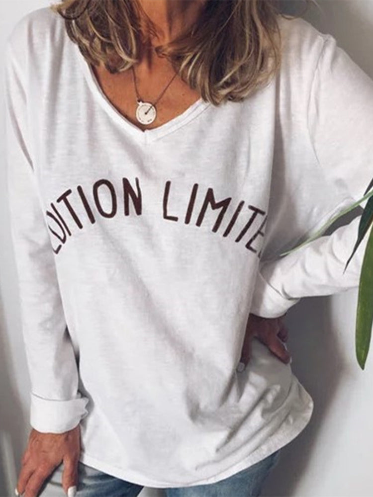 Solid Color Letters Printed V-neck Long Sleeve Loose T-shirt
