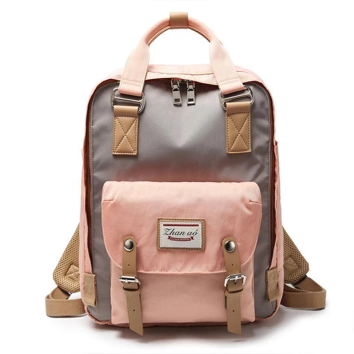Women Canvas Casual Patchwork Backpack'