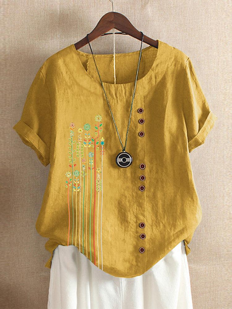 Bohemian Print Button Crew Neck Short Sleeve T-Shirt