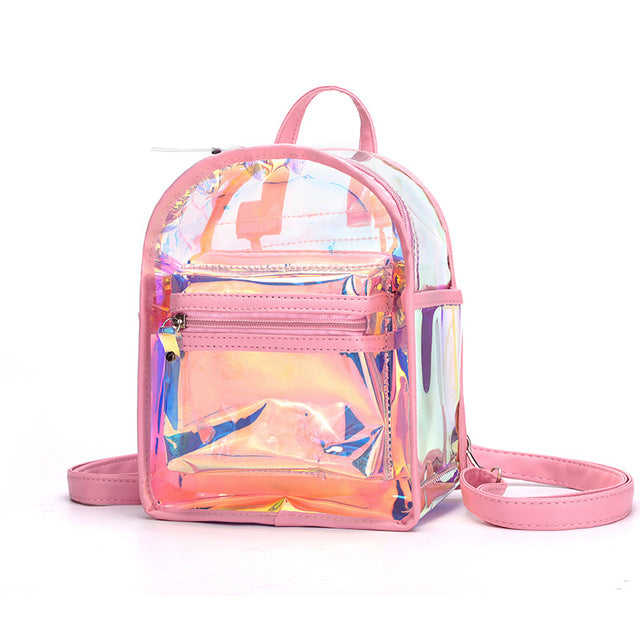Seasonal Laser Bag Female New Fashion Jelly Transparent Backpack Outdoor Travel Girl Small Backpack