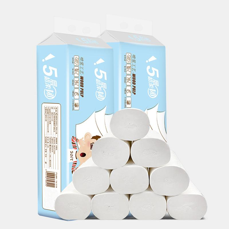 12 Rolls 5-Ply Unbleached Toilet Paper Tissue Safe Soft Kitchen Home Bathroom