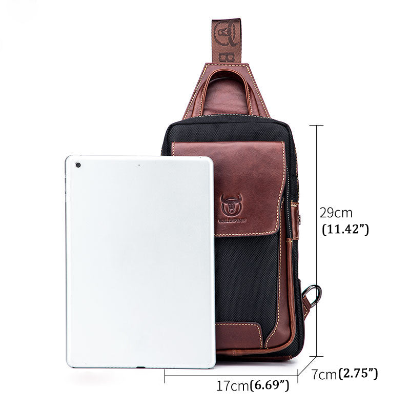 Men Genuine Leather Chest Bag Sling Crossbody Bag