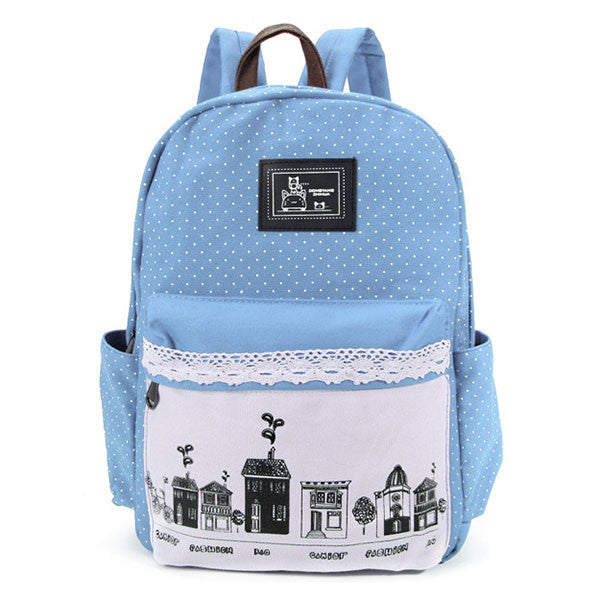 Women Rural Wind Print Canvas Backpack